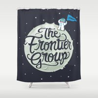 space cat Shower Curtains featuring Space Cat by The Frontier Group
