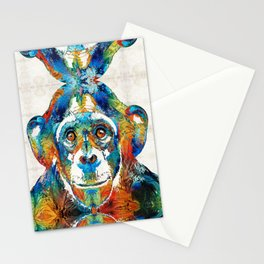 Colorful Chimp Art - Monkey Business - By Sharon Cummings Stationery Cards