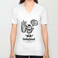 coffe V-neck T-shirts featuring Daily Grind Coffe Shop by Gnarleston