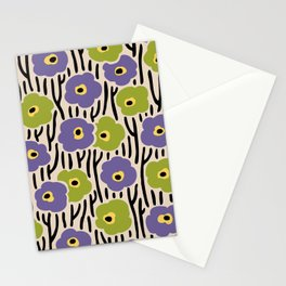 Mid Century Modern Wild Flowers Pattern Purple and Green Stationery Cards