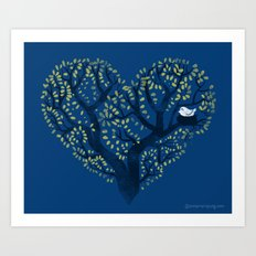 Home is where the nest is - on blue Art Print