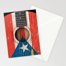 Old Vintage Acoustic Guitar with Puerto Rican Flag Stationery Cards