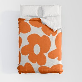 Orange Retro Flowers White Background #decor #society6 #buyart Comforters