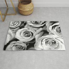 Black and White Roses Rug