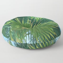 Majestic Palm Tree Leaves in Blue Sky Floor Pillow