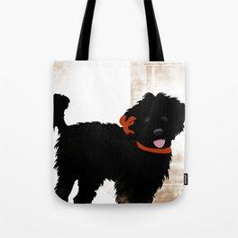 Black Labradoodle dog Tote Bag