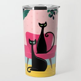 Sleek Black Cats Rule In This Urban Jungle Travel Mug