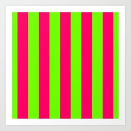 Bright Neon Green and Pink Vertical Cabana Tent Stripes Art Print