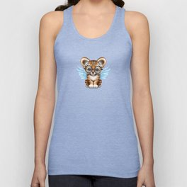 Tiger Cub with Fairy Wings Wearing Glasses on Blue Unisex Tank Top