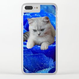 Cat and Rose Clear iPhone Case