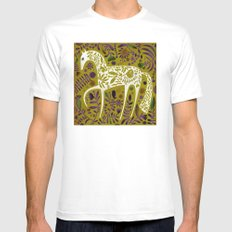 FLOWER HORSE White MEDIUM Mens Fitted Tee