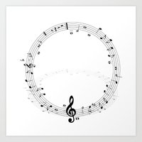 music notes Art Prints featuring music notes by Impurist