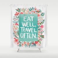 eat Shower Curtains featuring Eat Well, Travel Often Bouquet  by Cat Coquillette