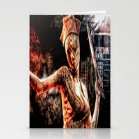silent hill Stationery Cards featuring Death By Medicine Silent Hill Nurses by Joe Misrasi
