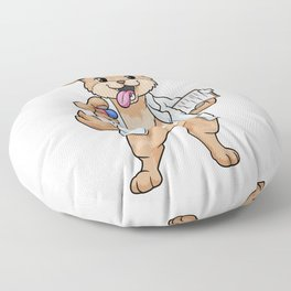 Dog as doctor with pills and notepad Floor Pillow