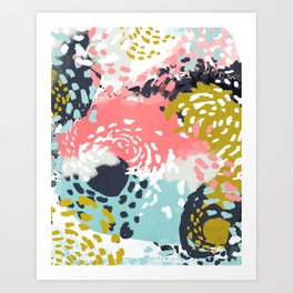 Athena - Abstract, pink, pastel, yellow, blue painting, abstract cell phone case, painterly design Art Print