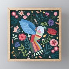 Folk Art Inspired Hummingbird With A Flurry Of Flowers Framed Mini Art Print