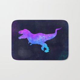 T-REX IN SPACE // Dinosaur Graphic Art // Watercolor Canvas Painting // Modern Minimal Cute Bath Mat