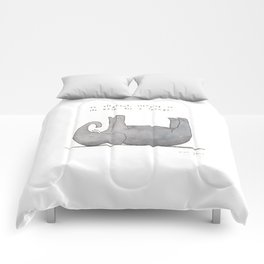 an elephant, sleeping on its back for a change Comforters