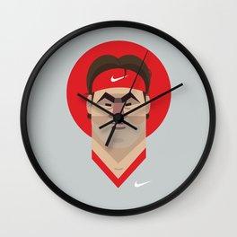 Roger Federer Tennis Illustration Wall Clock