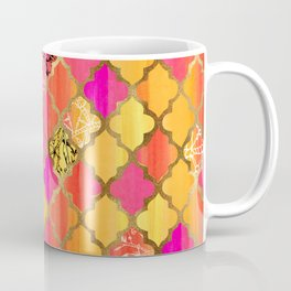Moroccan Tile Pattern In Pink, Red, Orange, And Gold Coffee Mug