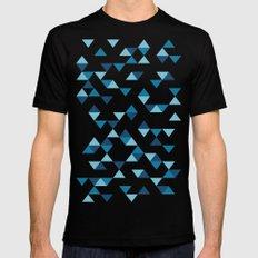 Triangles Blue MEDIUM Black Mens Fitted Tee
