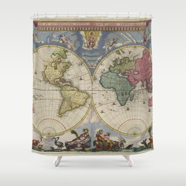 Vintage Map of The World (1665) Shower Curtain