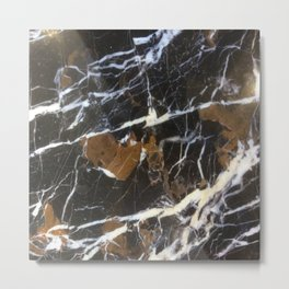 Stylish Polished Black Marble Metal Print