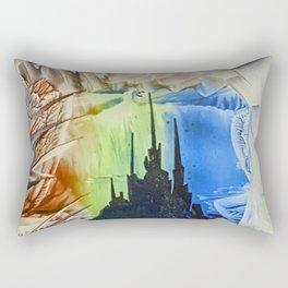 Blue alien cityscape Rectangular Pillow