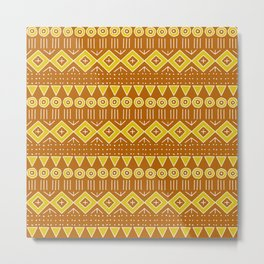 Mudcloth Style 2 in Burnt Orange and Yellow Metal Print