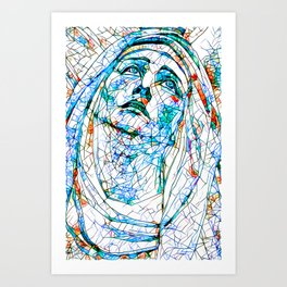 Glass stain mosaic 8 - Madonna, by Brian Vegas Art Print
