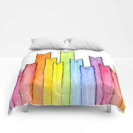 Cat Rainbow Watercolor Whimsical Animals Cats Pattern Comforters