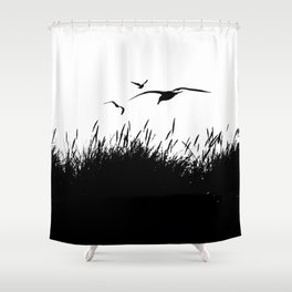 Seagulls Flying over Sand Dunes Shower Curtain