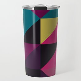 Triangle Shapes Texture, Retro Style, Purple, Turquoise, Yellow, Pink and Black Travel Mug
