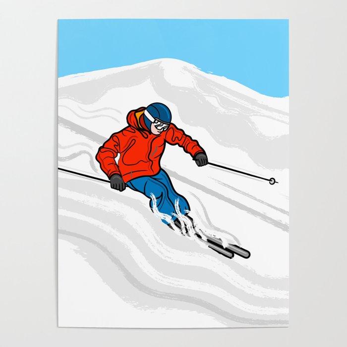 Skier Illustration Poster