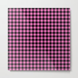 Classic Pink Country Cottage Summer Buffalo Plaid Metal Print