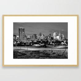 Denver Mile High Skyline in Black and White Framed Art Print