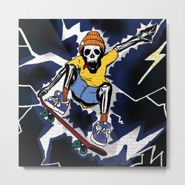 Wicked Electrocuted Skeleton Boy Metal Print