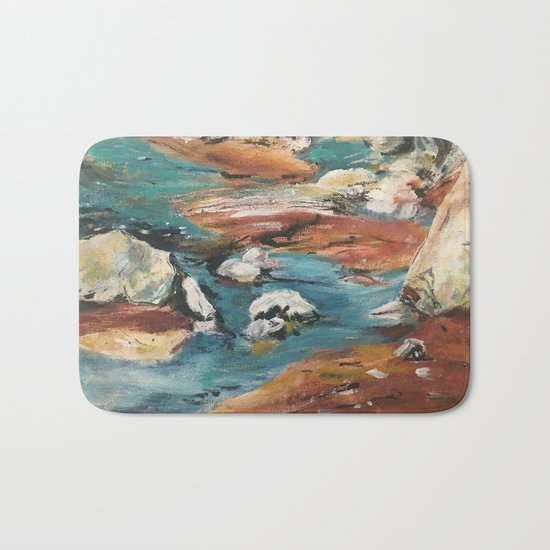 Water And Rock Expressionism Painting Bath Mat
