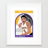 lakers Framed Art Prints featuring Kent Bazemore by Everyplayerintheleague