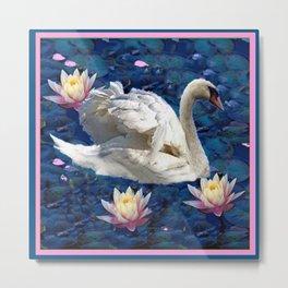 Swans & Peach Water Lilies Art Metal Print