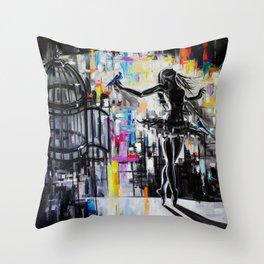Cage (The ballerina and the three bird christmas dance) Throw Pillow