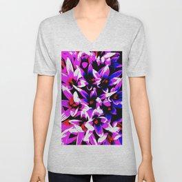 Pink, Blue ,White Flowers Unisex V-Neck