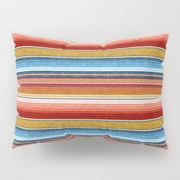 serape southwest stripe - red, blue, gold Pillow Sham