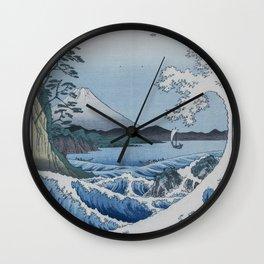 Sea Off Satta - Japanese Woodblock Print by Hiroshige Wall Clock