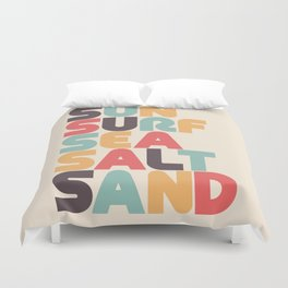 Retro Sun Surf Sea Salt Sand Typography Duvet Cover