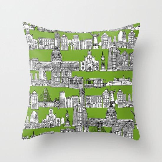 Decorative Pillows San Francisco : San Francisco green Throw Pillow by Sharon Turner Society6
