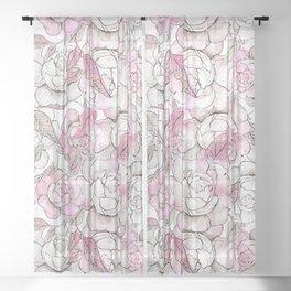 Silver peony dreams Sheer Curtain