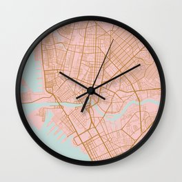 Pink and gold Manila map Wall Clock