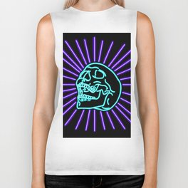 Blue Laughing Skull Biker Tank